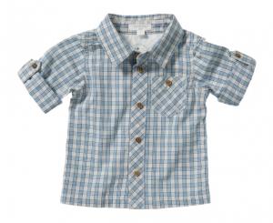Purebaby  有機棉格紋口袋襯衫-灰藍混色