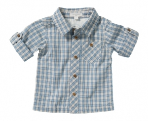Purebaby  有機棉格紋口袋襯衫- 灰藍混色