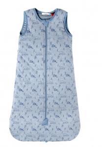 Purebaby 有機棉鋪棉睡袋-粉藍純色