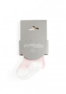Purebaby有機棉襪子2雙組-粉紅組