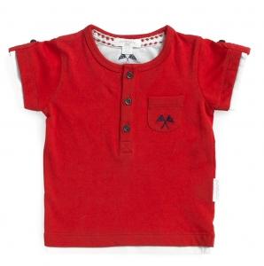Purebaby  有機棉短T-純紅色