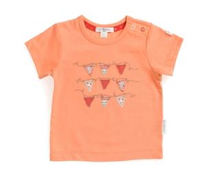Purebaby  有機棉小旗子圖印短T-粉橘色18月-3歲