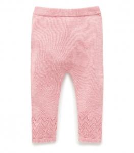 Purebaby  有機棉針織貼腿褲-粉紅混色