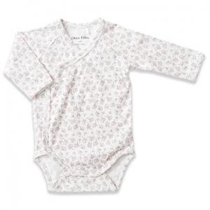 Deux Filles 有機棉側開襟包屁衣-粉紅樹葉