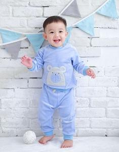 Deux Filles 有機棉棉絨運動褲-淺藍純色